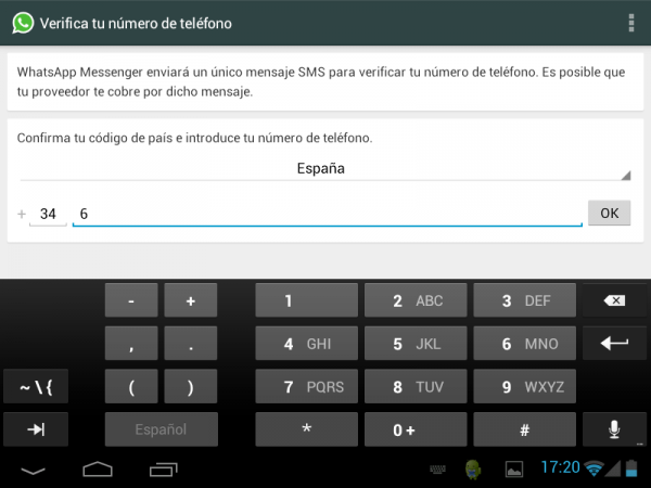 Verificar el número de teléfono en WhatsApp en una tableta