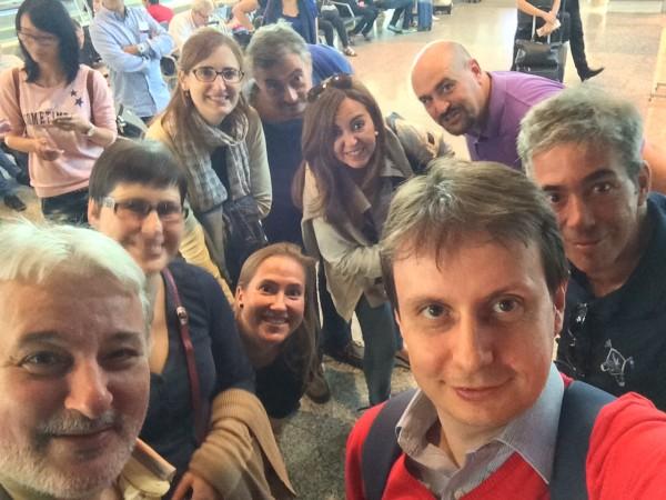 Foto de algunos de los participantes en #MallorcaFeelings en Barajas