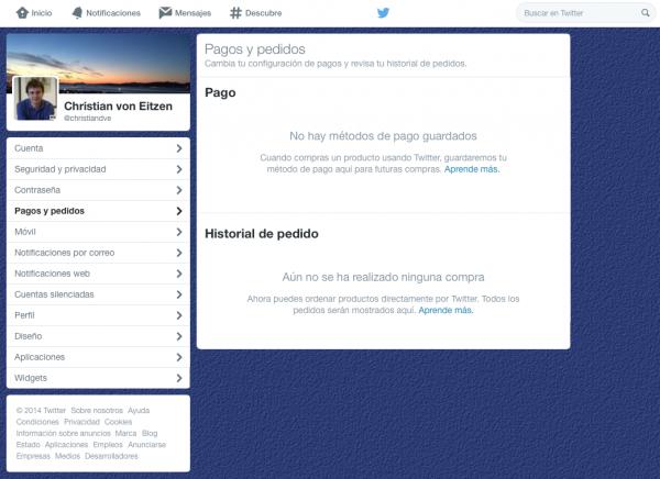 Pagos y pedidos (historial de pedidos) en Twitter