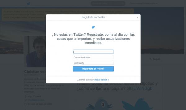 """""""Popup"""" de regístrate en Twitter sobre una cuenta de un tuitero"""