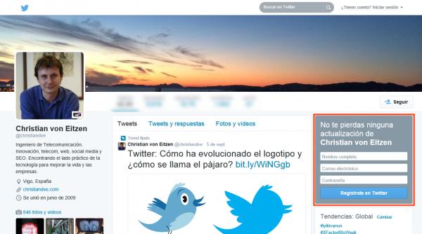 Formulario de alta en Twitter en una cuenta