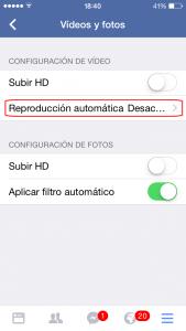 Desactivar reproducción automática en Facebook
