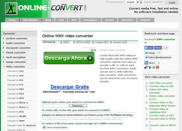Convertidor de formatos online