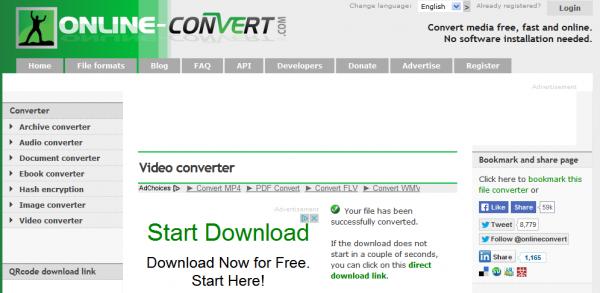 Resultado de la conversión online