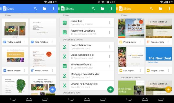 Google Docs, Sheets y Slides