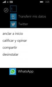 Desinstalar WhatsApp en Windows Phone