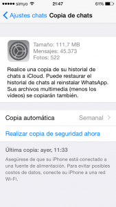 Copia de seguridad de WhatsApp en iPhone (iCloud)