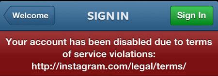 Cuenta inhabilitada en Instagram
