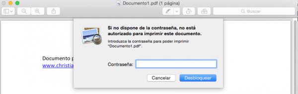 Imprimir archivo protegido en Mac: no deja. Con el truco descrito, sí