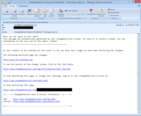 Correo de aviso de los cambios detectados en una web