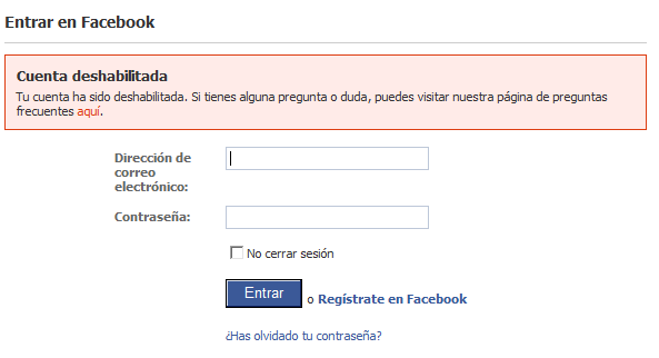 Cuenta deshabilitada en Facebook: el problema