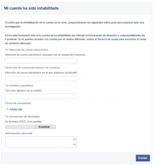Mi cuenta ha sido inhabilitada en Facebook - Recuperar cuenta de Facebook