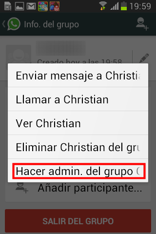 Hacer administrador de un grupo de chat de WhatsApp en Android