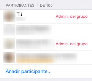 Varios administradores de grupo de WhatsApp
