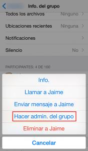 Hacer administrador de un grupo de chat de WhatsApp en iPhone