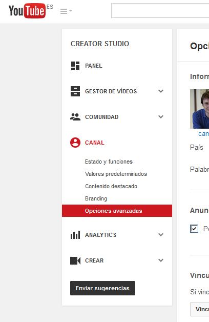 YouTube - Cuenta - Opciones avanzadas