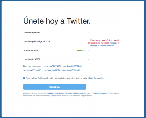 Alta en Twitter con una cuenta que ya existe