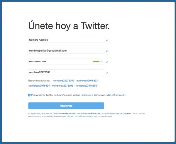Alta en Twitter con cuenta de Gmail y truco del dominio Googlemail
