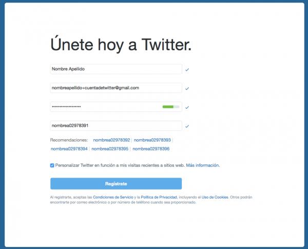 Alta en Twitter con cuenta de Gmail y truco del +