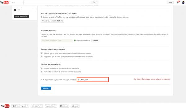 Insertar el ID de seguimiento de Google Analytics en el canal de YouTube