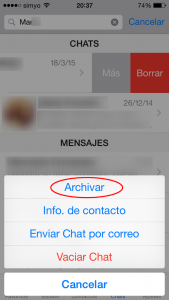 Archivar chats en WhatsApp en iPhone