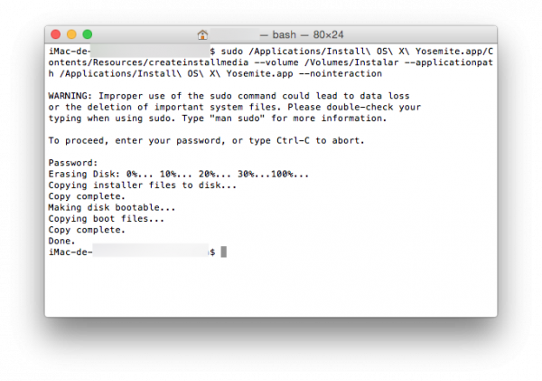 Crear disco de instalación de Mac OS X - finalizado