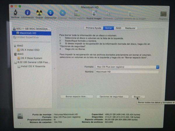 Formatear disco - Utilidad de discos de Mac OS X