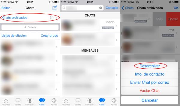Chats archivados en WhatsApp y cómo desarchivar uno en Android