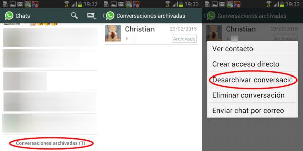 Conversaciones de WhatsApp archivadas y desarchivar en Android