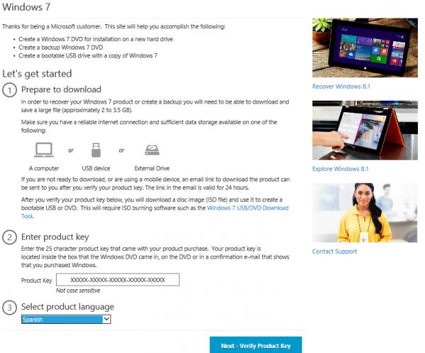 Descargar disco de instalación de Windows 7