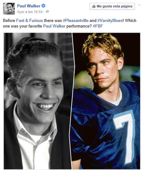 #FBF en Facebook de Paul Walker