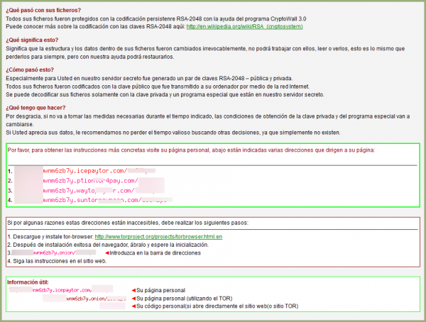 Pago de CryptoWall - Ficheros encriptados con Help Decrypt