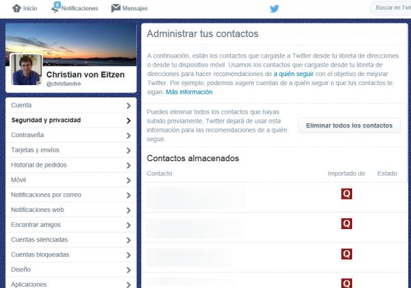 Administra tus contactos en Twitter