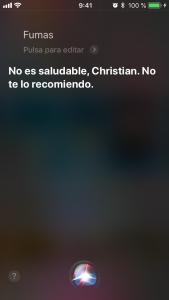 Siri, ¿fumas? No es nada saludable, Christian. No te lo recomiendo.
