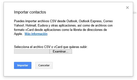 Importar contactos en Gmail
