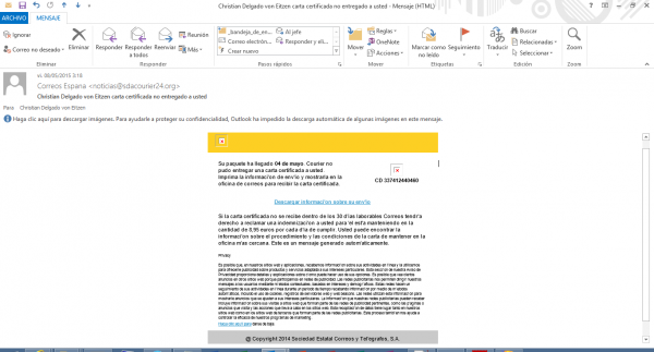 Mail de Correos con virus