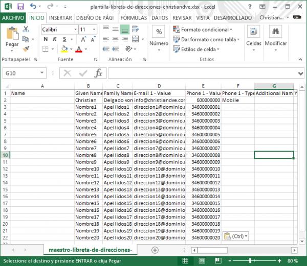 Plantilla para importar con datos cargados