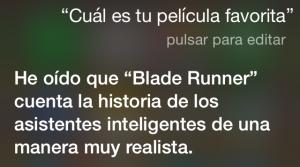 """¿Cuál es tu película favorita? He oído decir que """"Blade Runner"""" cuenta la historia de los asistentes inteligentes de una manera muy realista."""