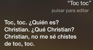 Toc toc Toc, toc. ¿Quién es? Christian. ¿Qué Christian, no me sé chistes de toc, toc…