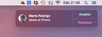 Llamada entrante en el Mac con Continuity
