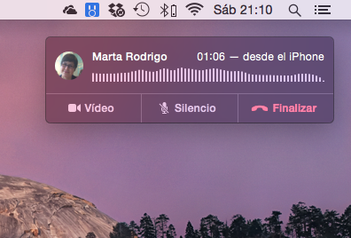 Llamada en curso en Mac OS X Yosemite
