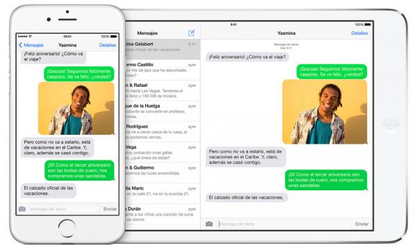 Mensajes SMS y MMS en iPad, Mac y iPod con Continuity