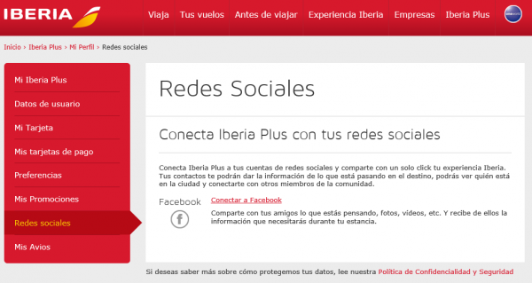 Conectar Iberia con Facebook