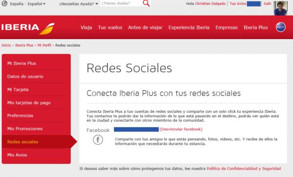 Cuenta vinculada entre Iberia y Facebook