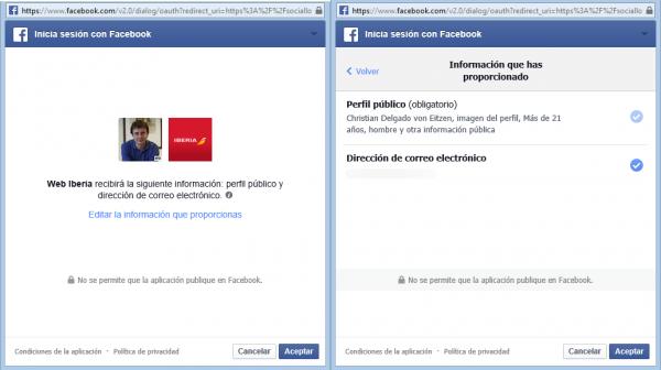 Iniciar sesión en Facebook de Iberia