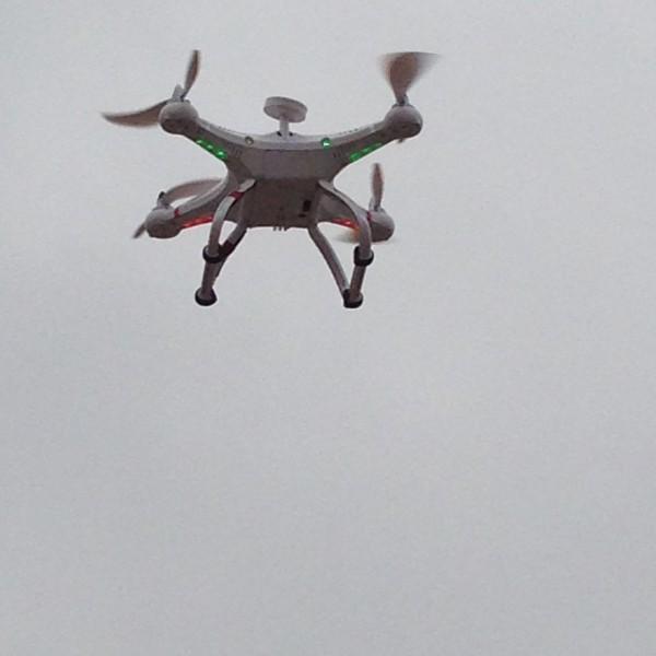 El dron en el aire....