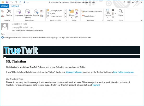 Confirmación de TrueTwit de una cuenta de un usuario