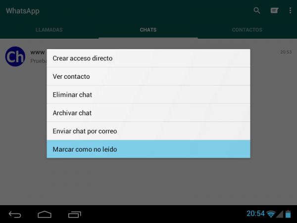 Cómo marcar como no leída una conversación en WhatsApp para Android