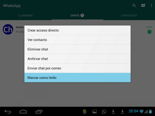 WhatsApp: marcar chat como leído en Android