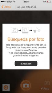 Búsqueda por imagen en la aplicación de Zalando